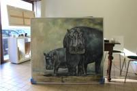 """""""Hippos"""" - 140 cm x 150 cm - Öl auf Leinwand"""