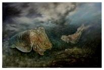"""""""Bedeutsamer lebensphilosophischer Austausch eines Tintenfischs mit einem Mozartfisch"""" - Öl auf Leinwand - 100 cm x 145 cm - Preis auf Anfrage"""