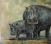 """""""Hippos"""" . 140 cm x 150 cm - Öl auf Leinwand - Lothar Böhm"""