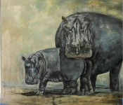 """Hippos"" . 140 cm x 150 cm - Öl auf Leinwand - Sold"